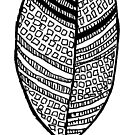 Boho black and white leaf by Jen Fullerton