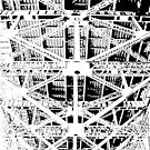 View from under the Sydney Harbour Bridge - black and white by Jen Fullerton