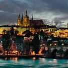 Charles Bridge and Hradcany by night by Stevacek