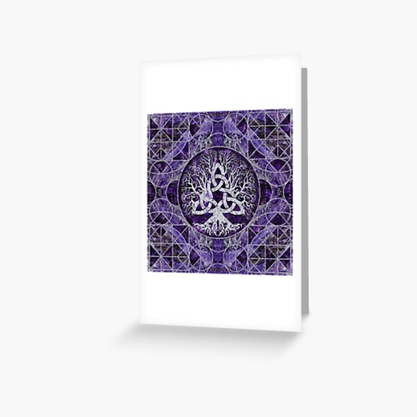 Tree of life with Triquetra Amethyst and silver Greeting Card