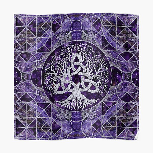 Tree of life with Triquetra Amethyst and silver Poster