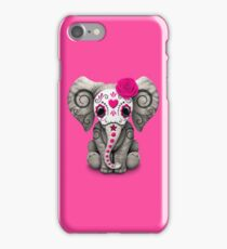 Pink Day of the Dead Sugar Skull Baby Elephant iPhone Case/Skin