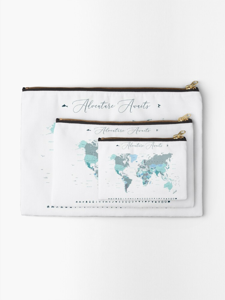 Alternate view of Adventure Awaits World Map in Teal Zipper Pouch