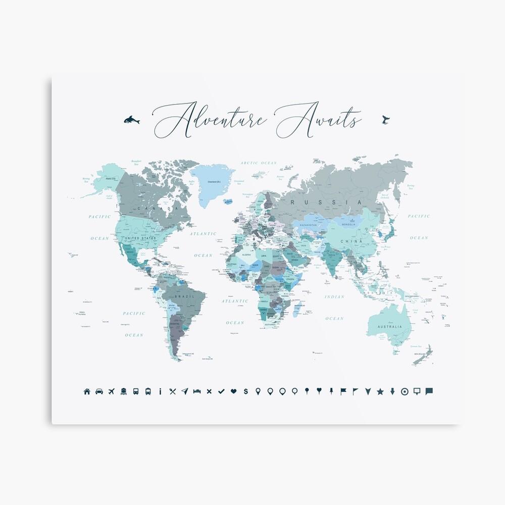 Adventure Awaits World Map in Teal Metal Print