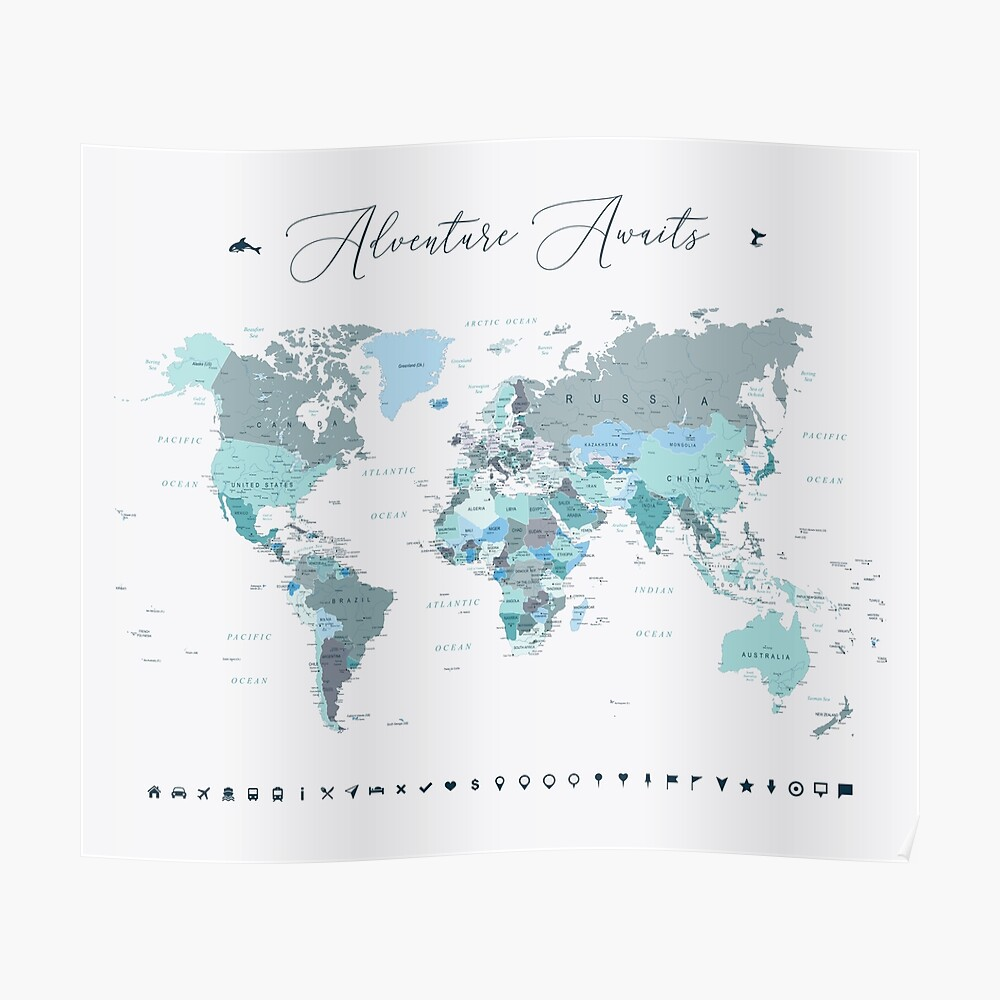 Adventure Awaits World Map in Teal Poster