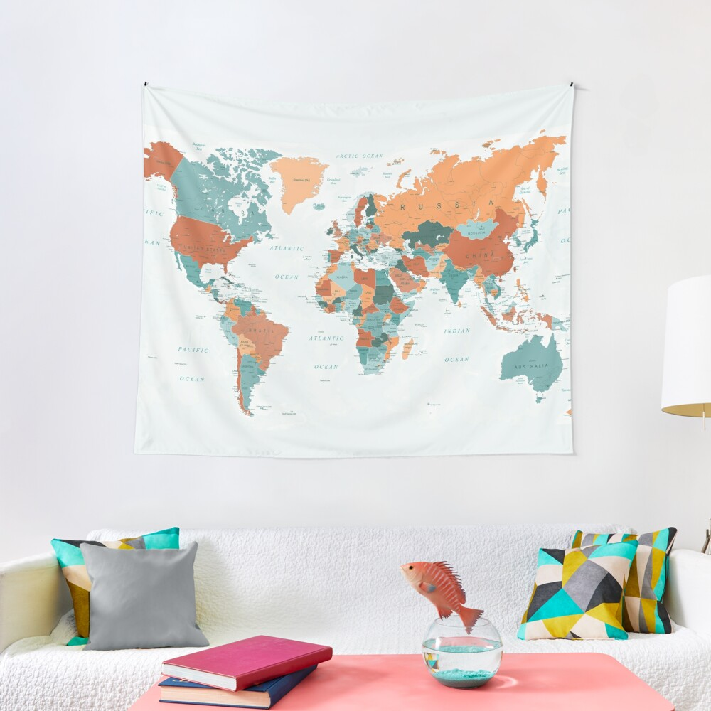 Map of the World in Burnt Orange and Teal Tapestry