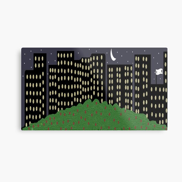 city buildings with lights in a night scene  Metal Print
