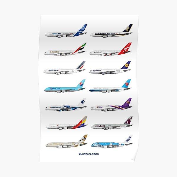 Airbus A380 Operators Illustration Poster