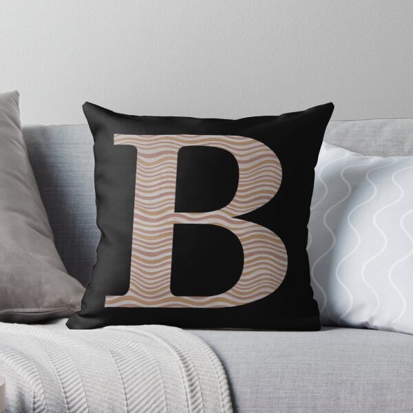 Letter B Metallic Look Stripes Silver Gold Copper Throw Pillow