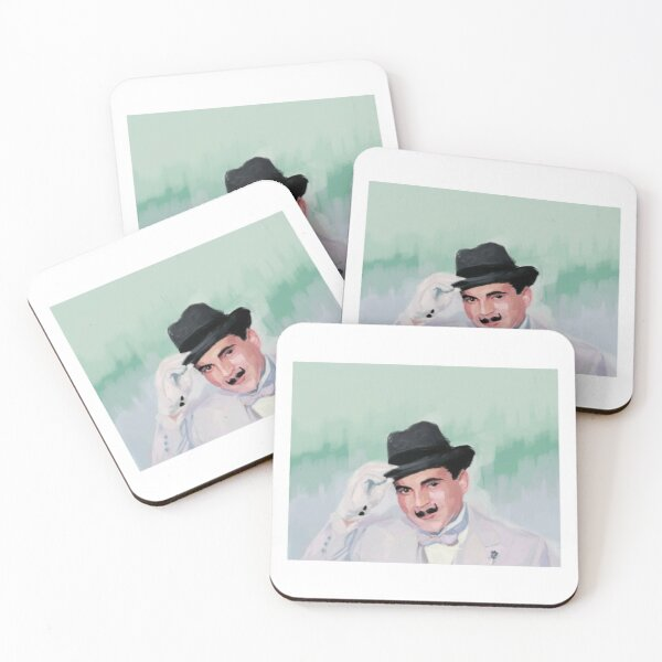 Hercule Poirot tips his hat to you Coasters (Set of 4)