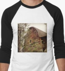 Rustic A Frame Barn Lost in the Trees Men's Baseball ¾ T-Shirt
