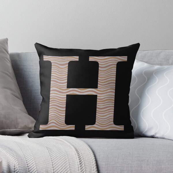 Letter H Metallic Look Stripes Silver Gold Copper Throw Pillow