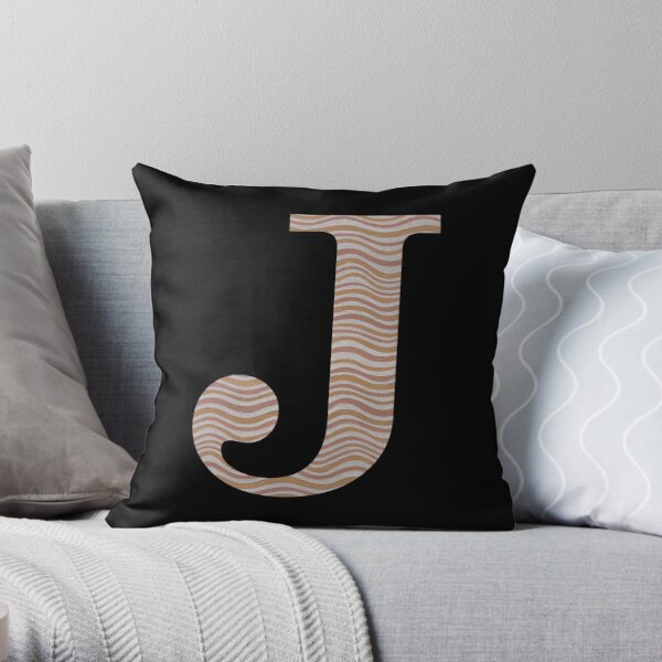 Letter J Metallic Look Stripes Silver Gold Copper Throw Pillow
