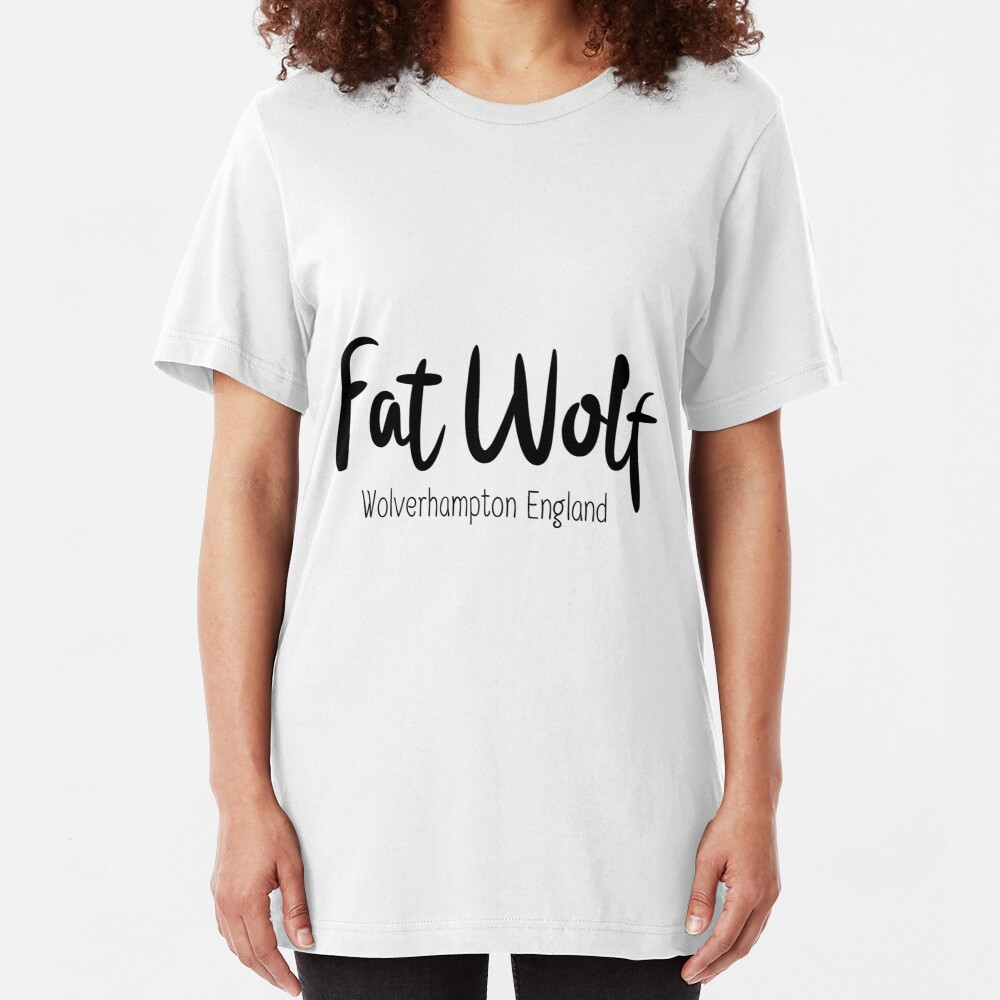 Fat Wolf Logo (Black) Slim Fit T-Shirt