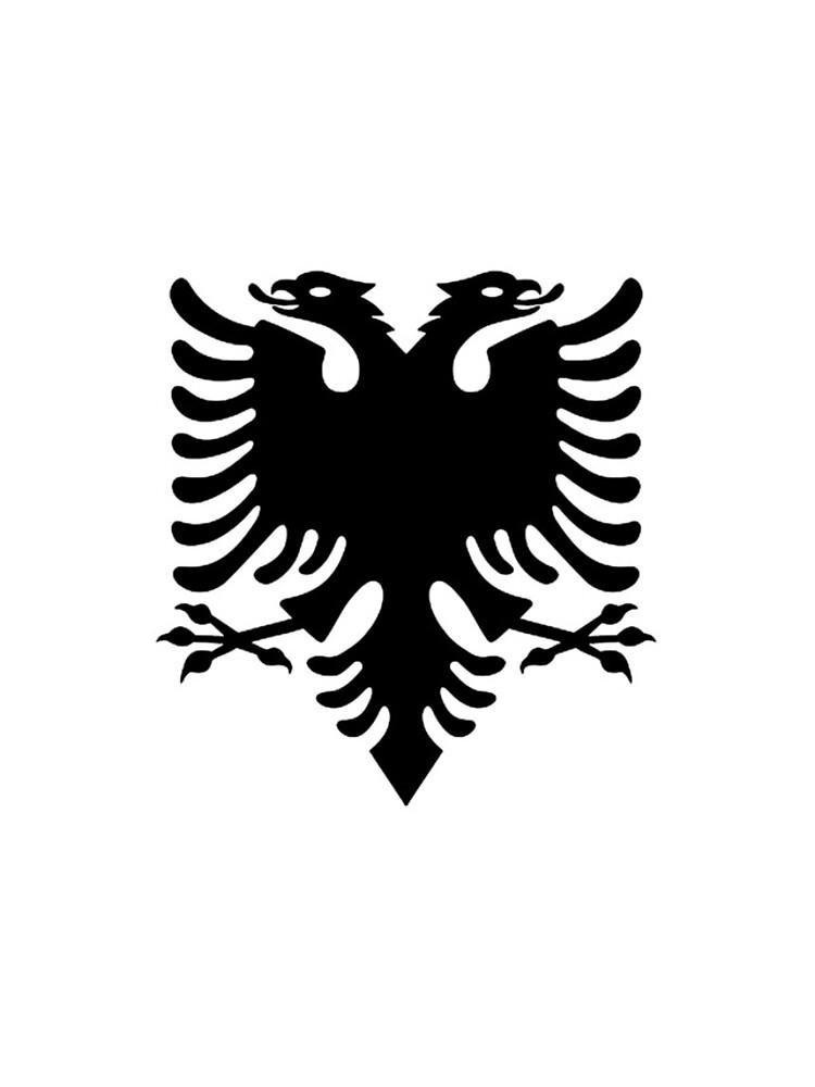 Albania. Albanian Black Eagle, Albanian Flag, Flag of Albania, Tale of the Eagle, Black on White. by TOMSREDBUBBLE