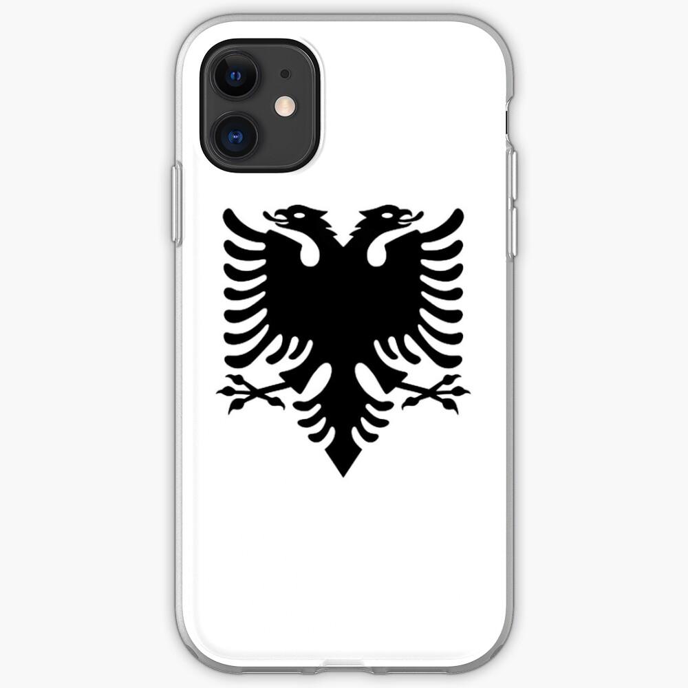 Albania. Albanian Black Eagle, Albanian Flag, Flag of Albania, Tale of the Eagle, Black on White. iPhone Case & Cover