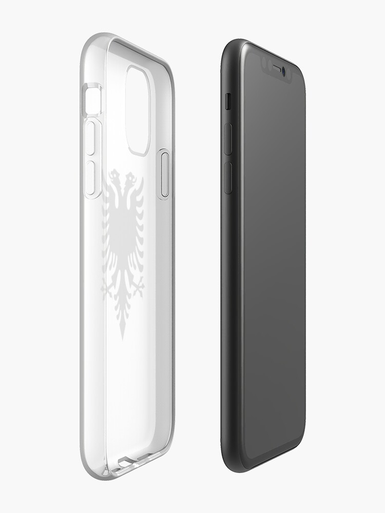Alternate view of Albania. Albanian Black Eagle, Albanian Flag, Flag of Albania, Tale of the Eagle, Black on White. iPhone Case & Cover