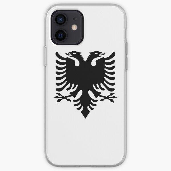 Albania. Albanian Black Eagle, Albanian Flag, Flag of Albania, Tale of the Eagle, Black on White. iPhone Soft Case