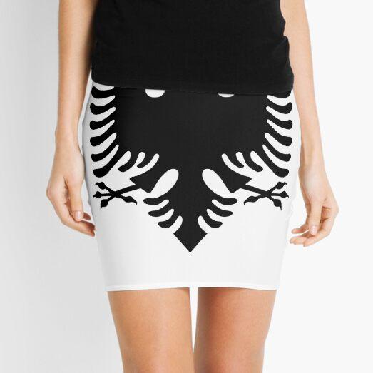 Albania. Albanian Black Eagle, Albanian Flag, Flag of Albania, Tale of the Eagle, Black on White. Mini Skirt