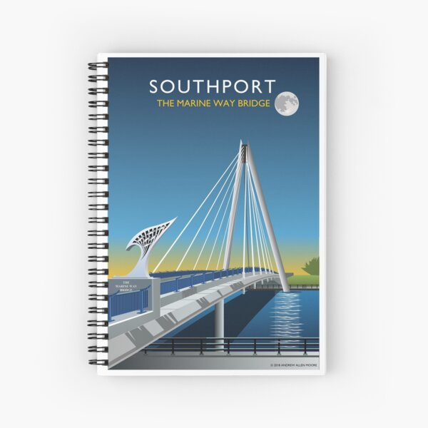 Southport Marine Way Bridge by Night Spiral Notebook