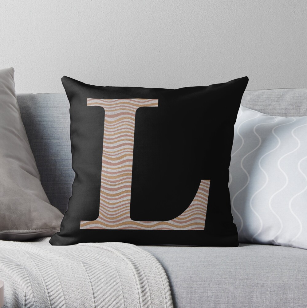 Letter L Metallic Look Stripes Silver Gold Copper Throw Pillow