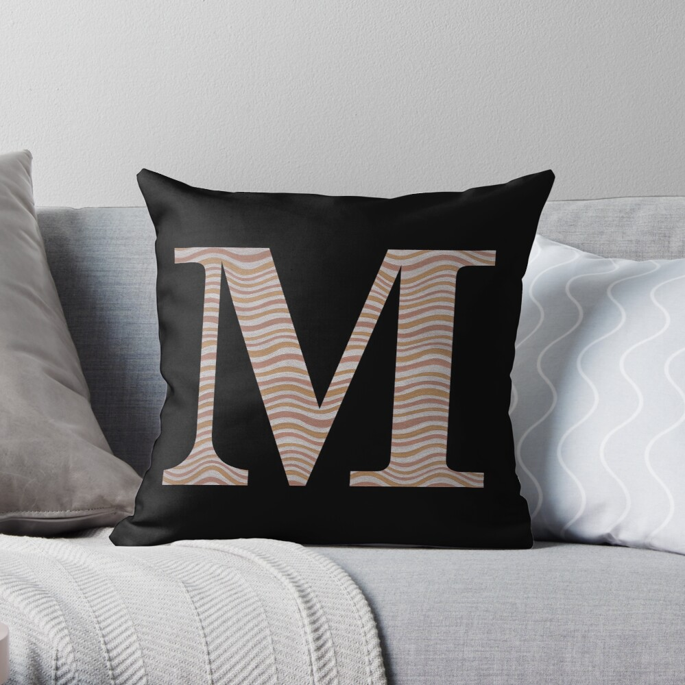 Letter M Metallic Look Stripes Silver Gold Copper Throw Pillow