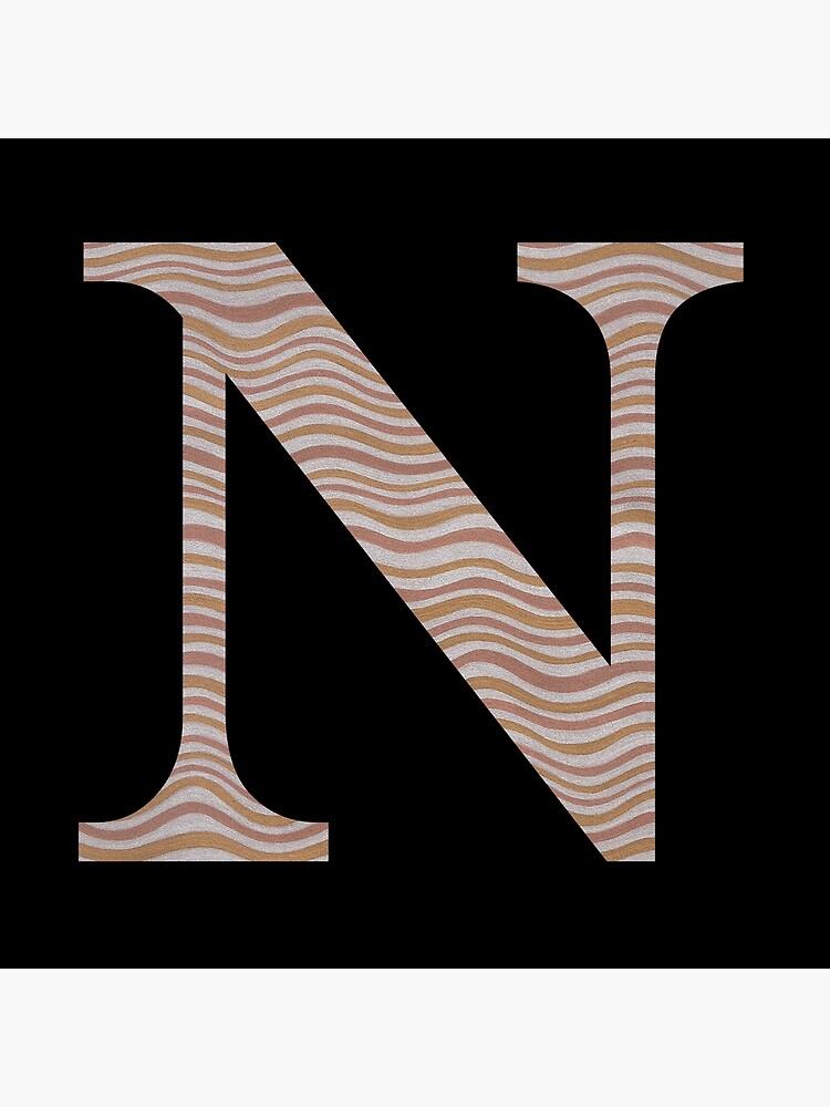 Letter N Metallic Look Stripes Silver Gold Copper by theartofvikki