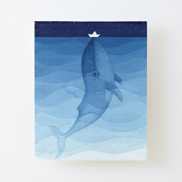 Blue whale, sea animal Canvas Mounted Print