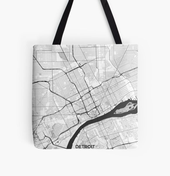 Detroit Map Gray All Over Print Tote Bag