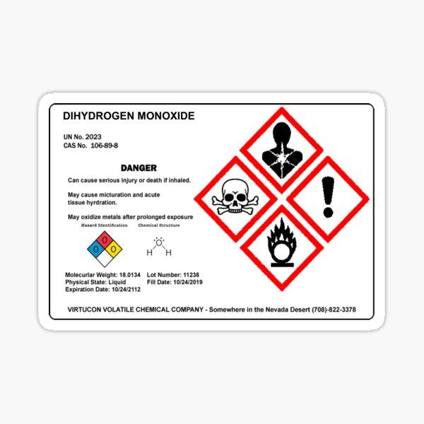 Etiqueta de monóxido de dihidrógeno Pegatina