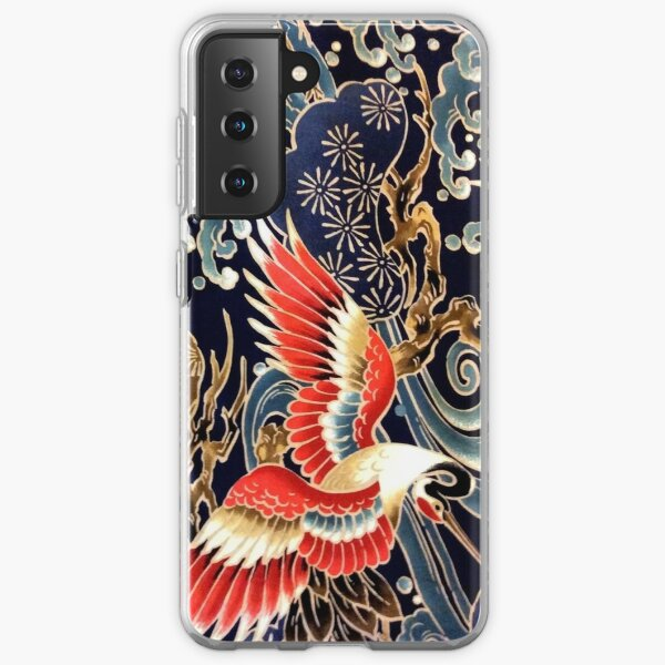 FLYING CRANES ,FLOWERS, SEA WAVES RED NAVY BLUE FLORAL Samsung Galaxy Soft Case
