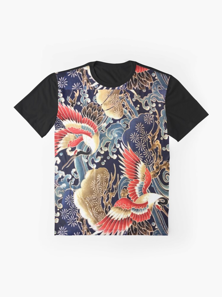 Alternate view of FLYING CRANES ,FLOWERS, SEA WAVES RED NAVY BLUE FLORAL Graphic T-Shirt