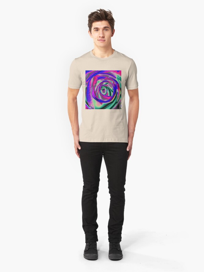 Alternate view of Blue and pink psychadelic Rose T Slim Fit T-Shirt