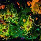 Abyssal Life: undersea marine life; acrylic pour art by kerravonsen