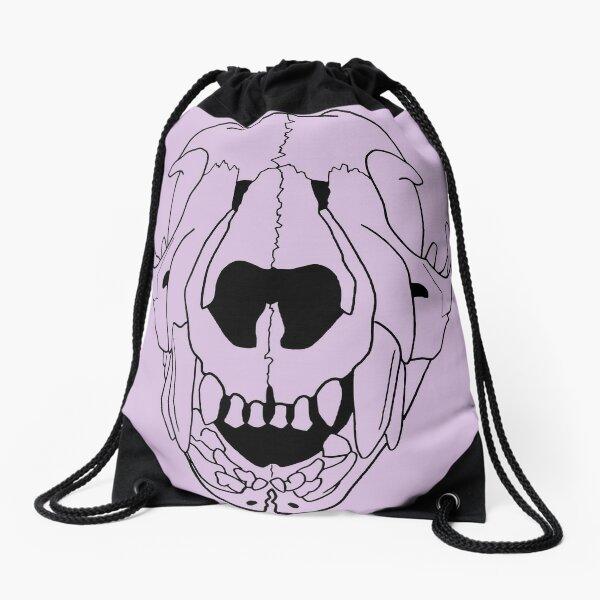 Baby Cougar Skull, baby teeth, transparent line art Drawstring Bag