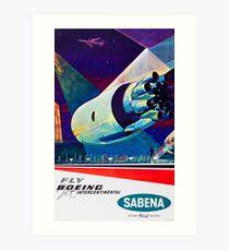 Fly Boeing Intercontinental - SABENA 1960s Vintage Travel Poster Art Print