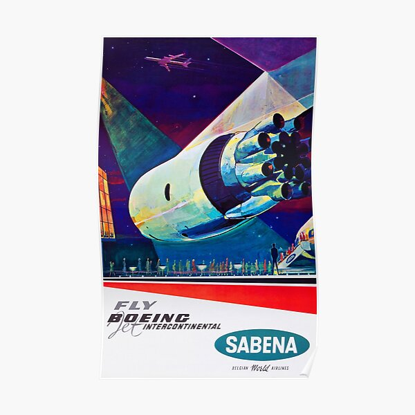 Fly Boeing Intercontinental - SABENA 1960s Vintage Travel Poster Poster