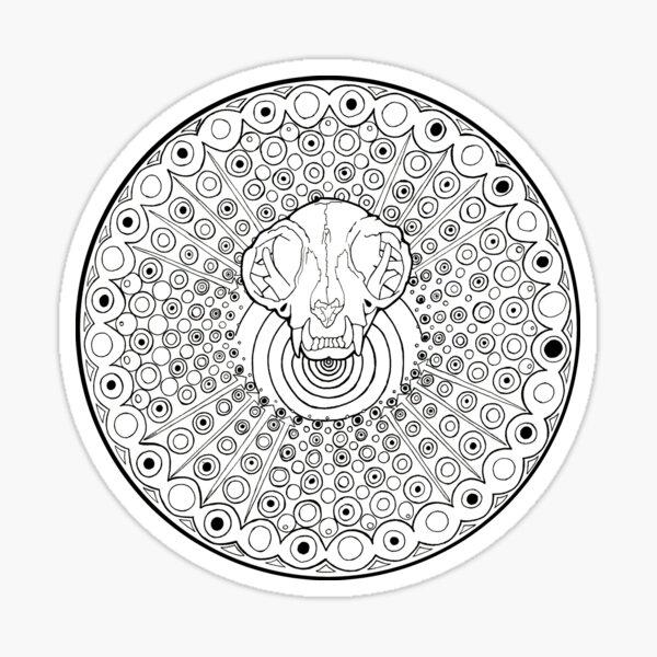 Persian Cat Skull Mandala, coloring fun! Sticker