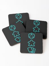 D20 Dice, Meeple and Cards - Board Game Inspired Graphic - Tabletop Gaming  - BGG Coasters
