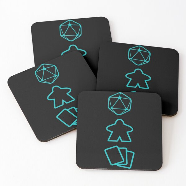 D20 Dice, Meeple and Cards - Board Game Inspired Graphic - Tabletop Gaming  - BGG Coasters (Set of 4)