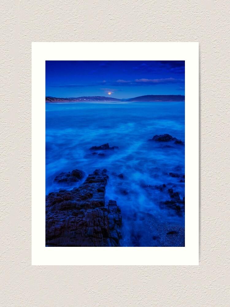 Alternate view of Moonrise over Carlton Beach. Art Print