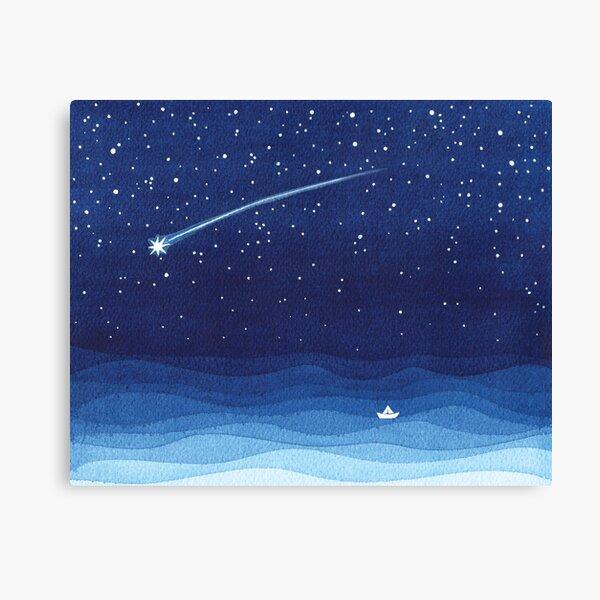 Falling star, shooting star, sailboat ocean waves blue sea Canvas Print