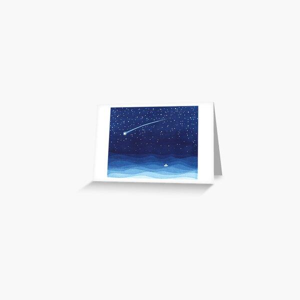 Falling star, shooting star, sailboat ocean waves blue sea Greeting Card