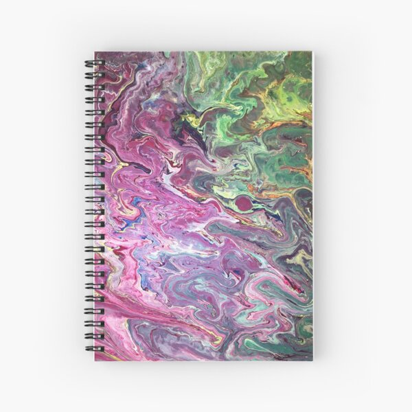 Purple and Green Acrylic Pour Painting Spiral Notebook