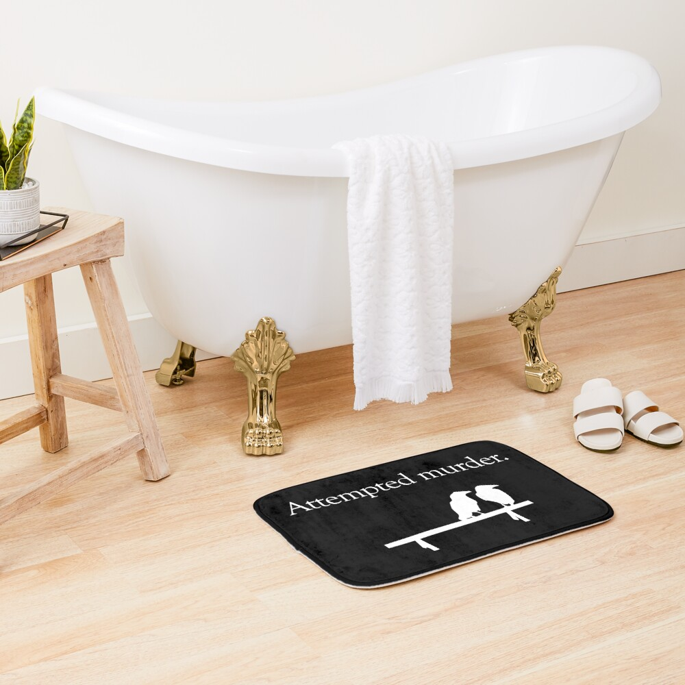 Attempted Murder (White design) Bath Mat