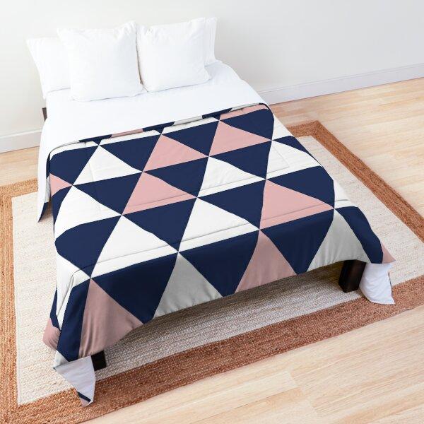 Triangular: Blush Pink, Navy Blue, and White Minimalist Geometric Pattern Comforter