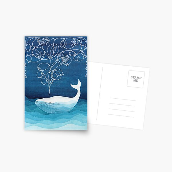 Happy whale, animals, sea creature, teal blue watercolor Postcard