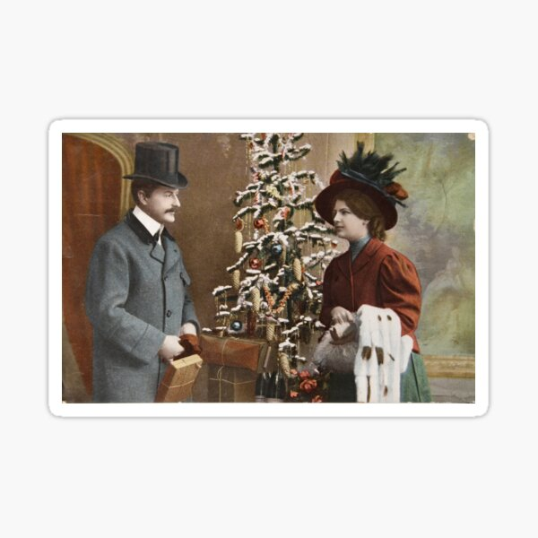 Victorian Couple Christmas Sticker