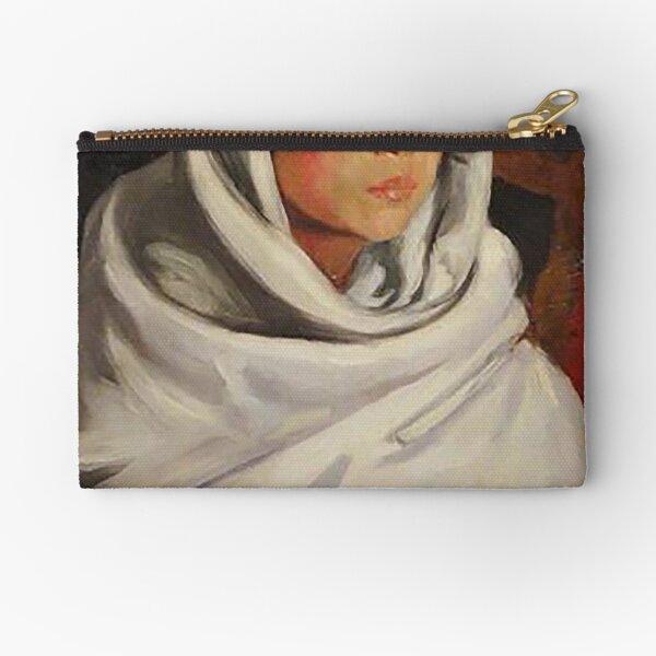 Indian Girl in a White Blanket - Robert Henri Zipper Pouch