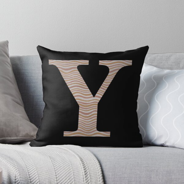 Letter Y Metallic Look Stripes Silver Gold Copper Throw Pillow